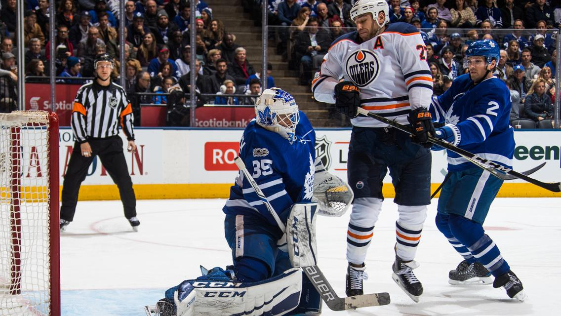 Curtis McElhinney of the Toronto Maple Leafs