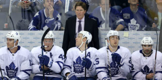 Mike Babcock on the Toronto Maple Leafs bench