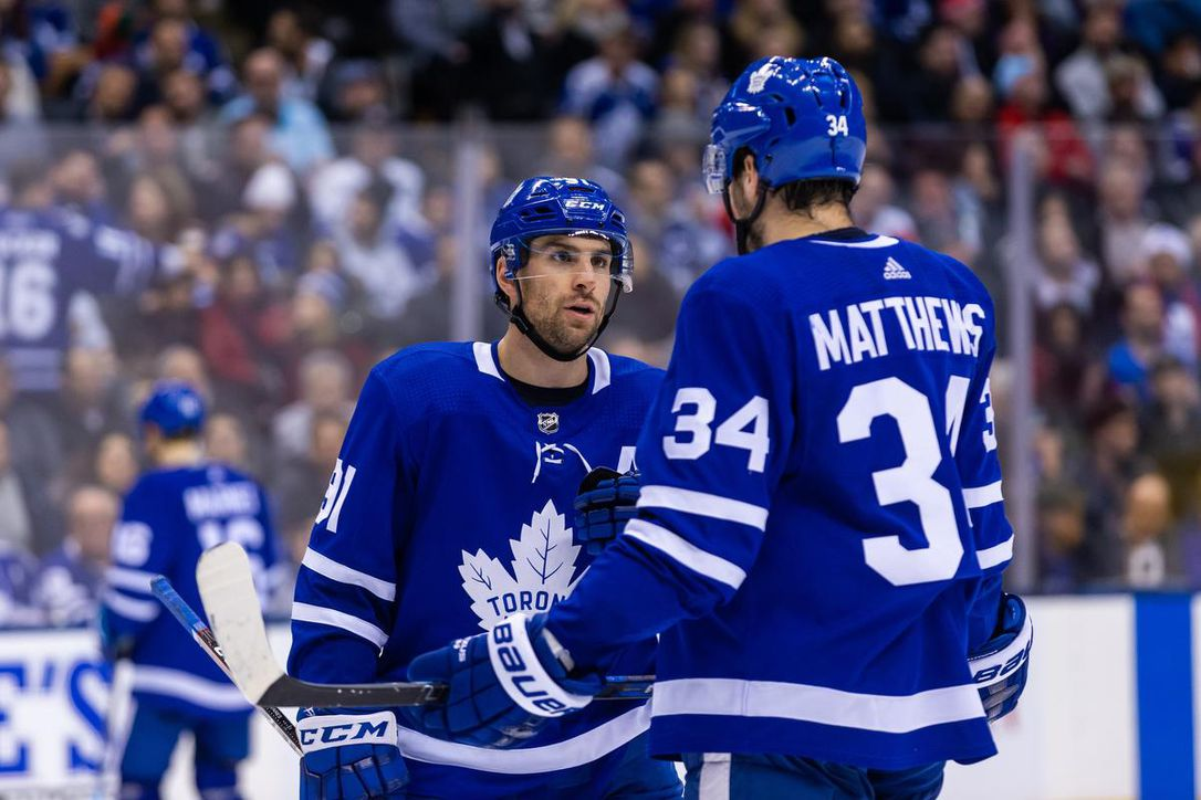 Auston Matthews and John Tavares of the Toronto Maple Leafs
